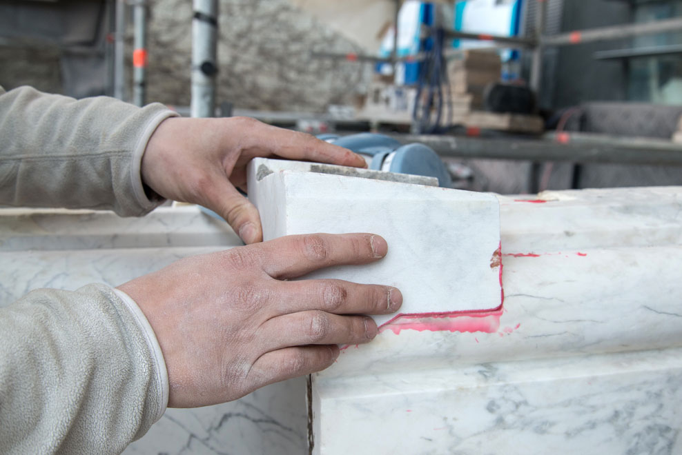 Grafting a piece of marble