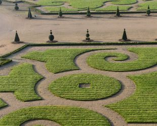 Embroidery-like lawn patterns of the Orangerie parterre