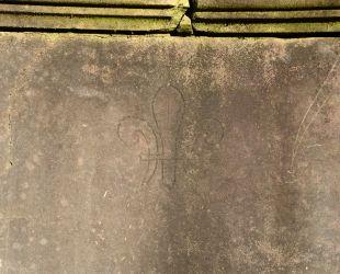 泉水の大理石に刻まれた白百合の花