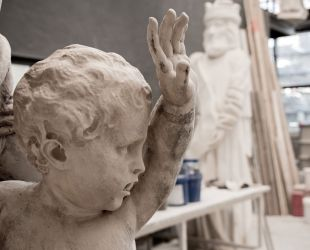 The Latona Basin's sculpture group is being restored.
