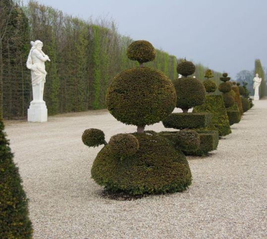 ラトナの花壇に沿ってトピアリーを配置