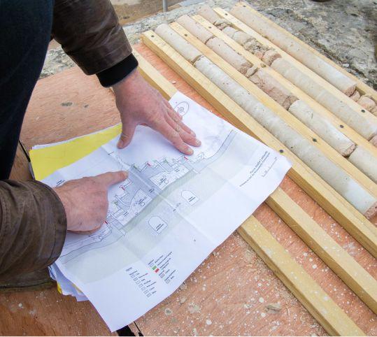 石工事のコアリング調査