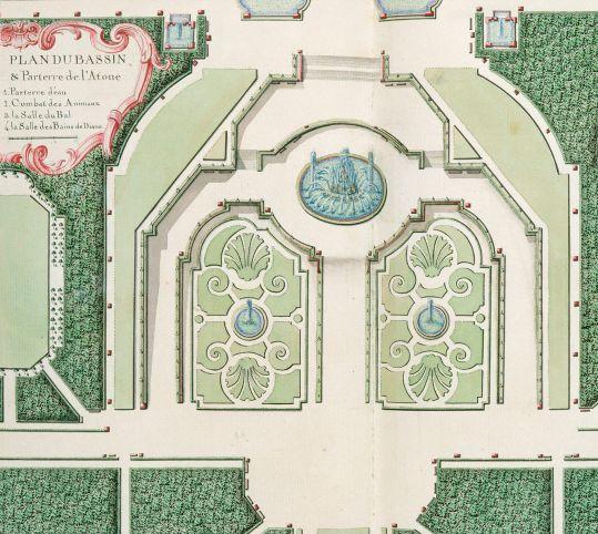 ラトナの泉水と花壇の平面図